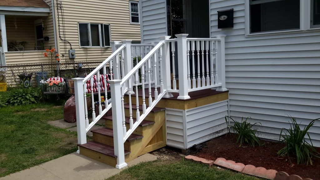 Wooden stairs for the front entrance of a house.