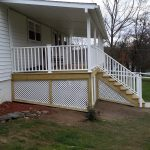 Custom-built deck with stairs.