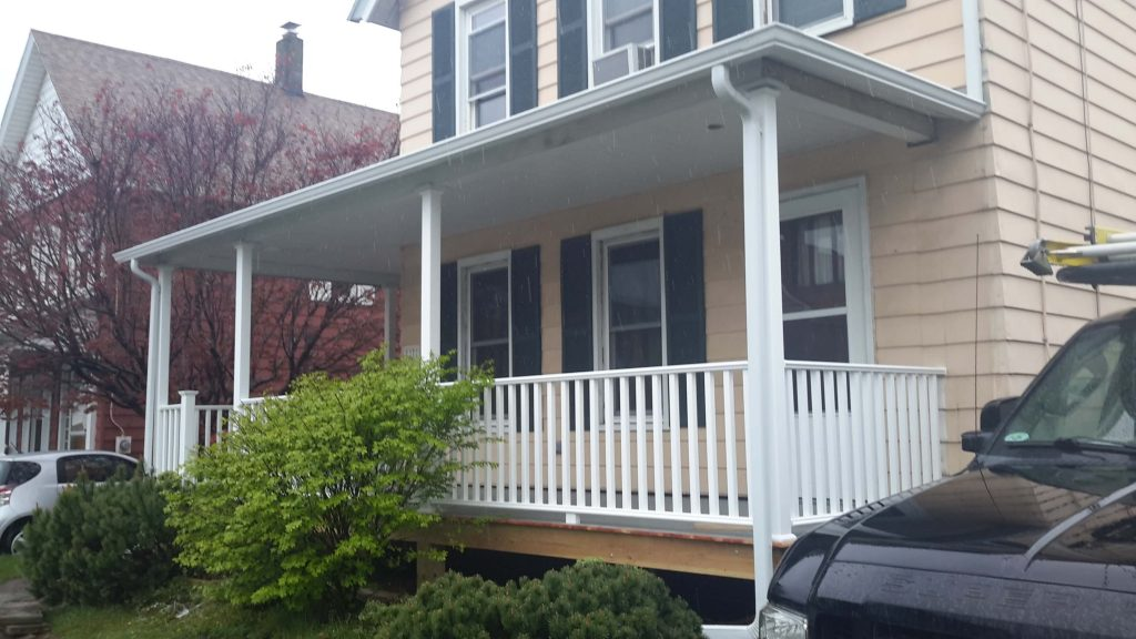 Newly-constructed front porch.