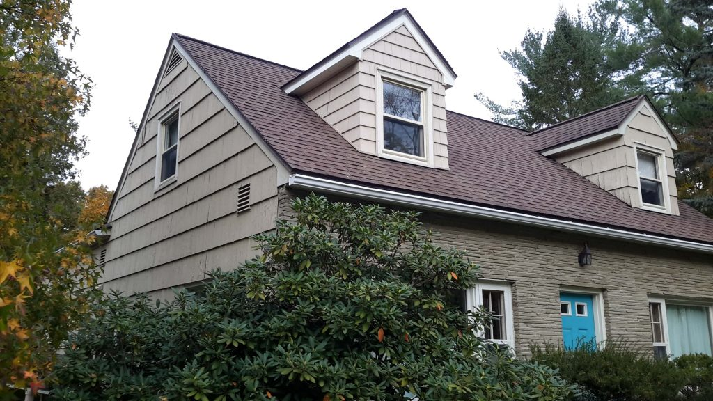 Newly-installed wooden siding.